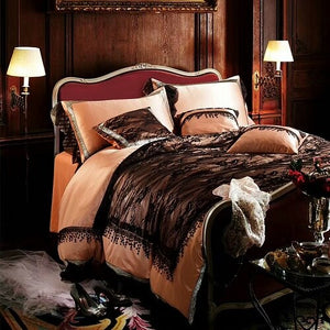 Queen King size Black Lace Bedding Sets Luxury Silk Cotton Duvet Cover Bed set Bed Sheet
