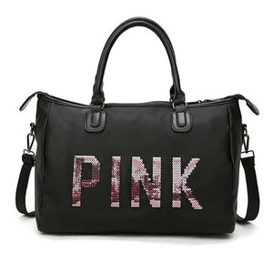 Men and women black travel bag fashion pink sequin shoulder bag ladies handbag ladies weekend portable Duffel waterproof washbag