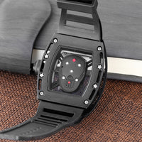 Men Watch Quartz  Watch Military Silicone Strap Wine Barrel Dial Face  Men's Watch Diamond 3D Frosted Dial Genuine  sports watch