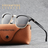 Classic Half Metal Frame Polarized Sunglasses Men Women Semi-Rimless Tortoise Brown Sun Glasses Fashion Gafas Oculos De Sol