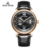 Reef Tiger/RT 2019 New Design Top Brand Luxury Casual Watch for Men Brown Leather Strap Rose Gold Automatic Watch RGA1617-2