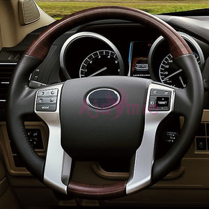 For Toyota Land Cruiser 150 Prado LC150 FJ150 2010-2017 Interior Steering Wheel Cover Trim Chrome Car Styling Accessories