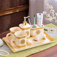Bathroom Set Ceramic Soap Dispenser Mouthwash Cup Toothbrush Holder Soap Dish Tray