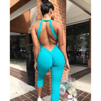 2019 Hot Sexy Girls Backless Fitness Tights Jumpsuit Yoga Sport Suit Gym Tracksuit