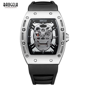 Baogela Mens Fashion Military Silicone Strap Rectangle Dial Skull Face Sport Quartz Wrist Watches