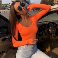 Autumn Neon Pink Yellow Orange Long Sleeve T Shirts Women Sexy Streetwear Bodycon Fluorescent Top Korean Harajuku Tees Clothes