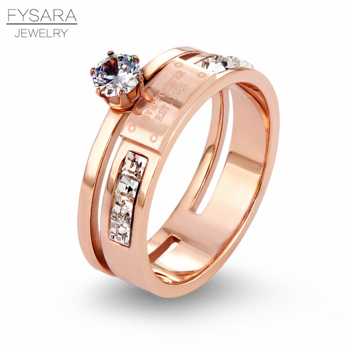 FYSARA Luxury Brand Letter LOVE FOREVER AAA Cubic Zirconia Finger Ring Austrian Crystals Rings Jewelry Bridal Sets Wedding Rings