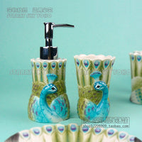 ceramic peacock toothbrush holder soap dish bathroom accessories set kit cup wedding gifts crafts home decor porcelain figurines