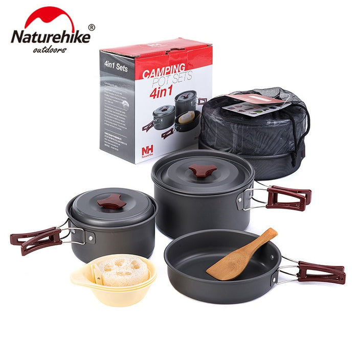 Naturehike Outdoor Tableware Camping Hiking Cookware Set 4 in 1 Picnic For 2-3 Person 203-G (Black)