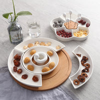 Hotel restaurant five grid ceramic dish solid color platter snack platter partition plate creative wooden plate WF530248