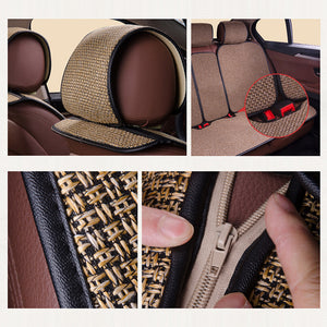 2 pcs Car Seat Cover Blue Cloak Linen/ 2 Front or 1 Back Seat Cushion Pad Fit Most Car