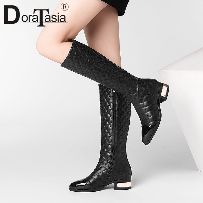 DoraTasia Hot Sale  33-45 Genuine Cow Leather Boots Women Casual 4 cm Med Heels Boots Female Autumn Winter Ladies Shoes Woman