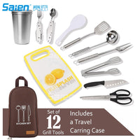 12 PCs Camping Kitchen Utensil Set, Camp Cookware Utensils Organizer Travel Kit with Water Resistant Case, Cutting Board