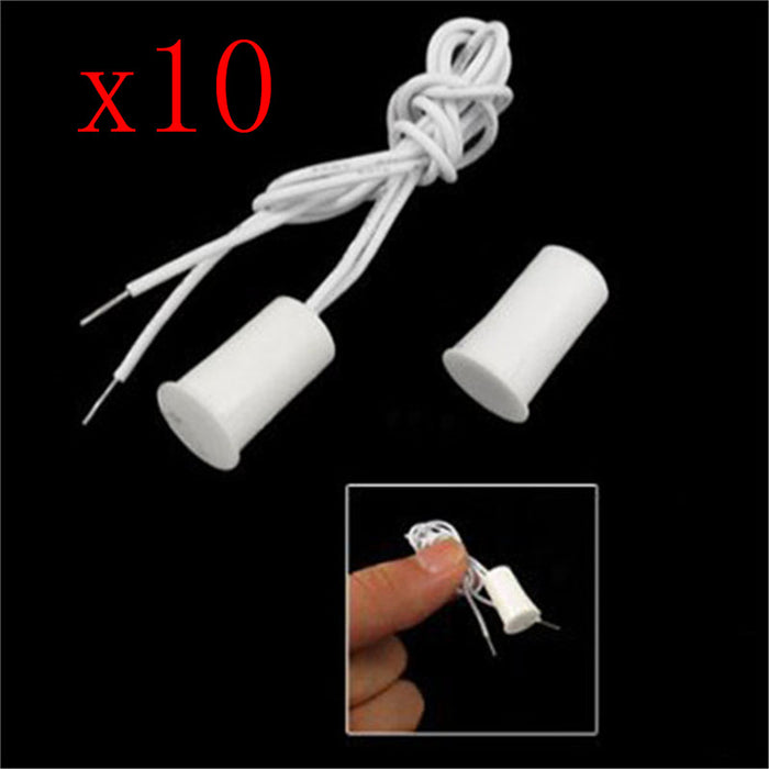10PCS wired door and window sensor embedded alarm magnetic contact safety reed switch alarm