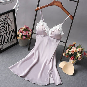 Ladies Sexy Nightdress Silk V-neck Floral Sleepwear Lingerie Babydoll Nightgown Mini Sleeveless Women Sleepshirt With Padded Bra