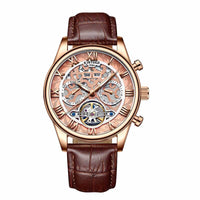 KINYUED 2019 New Mens Top Unique Skeleton design Calendar Display Watch fashion