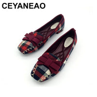 CEYANEAO England Style Gingham Women Casual Loafers Spring Autumn  Bowtie Slip On Flats For Woman Ladies Single Shoes