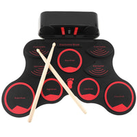 SLADE Portable Roll Up Electronic Drum Set 9 Silicon Pads Built-in Speakers with Drumsticks Sustain Pedal Support USB MIDI