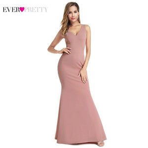Ever Pretty Pink Mermaid Bridesmaid Dresses V-Neck Sleeveless Sexy Women Dresses For Wedding Party Robe Demoiselle D'honneur