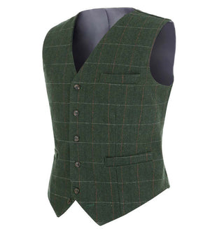 2020Fashion New Plaid Suit Vest For Men Wool Tweed Casual Slim Fit Waistcoat Formal Business