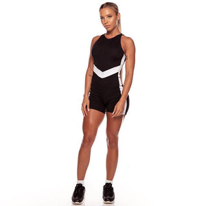 Women's Sports Wear Sleeveless Yoga Clothing Black White Patchwork Sport Suit Jumpsuit Fitness Clothes for Women Gym Workout
