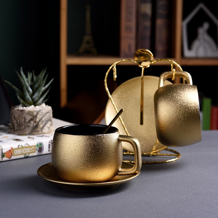 Dubai Luxury Golden Coffee Cups Saucer Sets Noble Gold Pottery Frosted Afternoon Teacup E