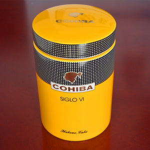 COHIBA Gadget Classic Yellow Cylindrical SIGLO VI Sheeny Porcelain Ceramic Cigar Tube Hermetic Jar MINI Humidor With Gfit Box