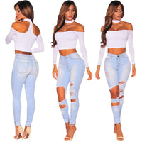 HMILY Women Jeans High Waist Jeans Woman High Elastic Plus Size Women Jeans Femme Light Washed Casual Skinny Pencil Pant