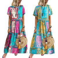 New Summer Beach Boho Women Color Block Flower Print Short Sleeve Loose Maxi Dress