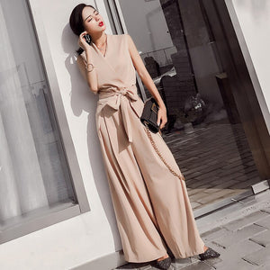 Women V-neck  Jumpsuits Elegant Ladies Black Party Wide Leg Jumpsuits  Casual Office Lady Playsuits