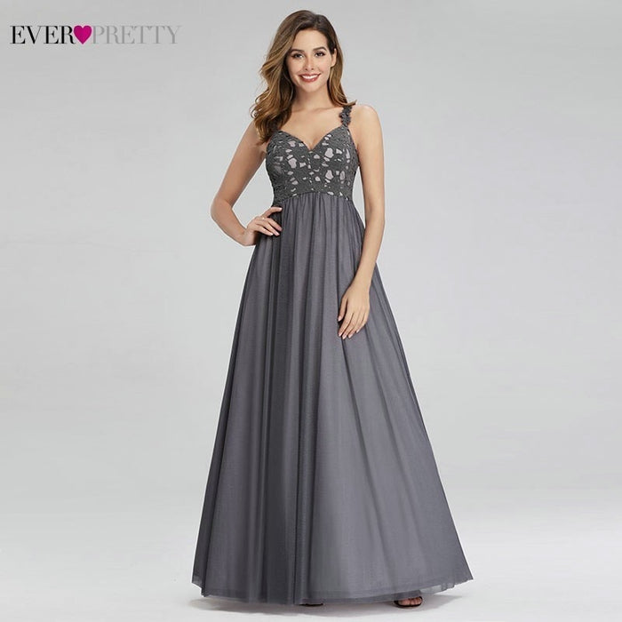 Robe De Soiree Ever Pretty Grey Lace Evening Dresses Long A-Line Spaghetti Straps Elegant Formal Party
