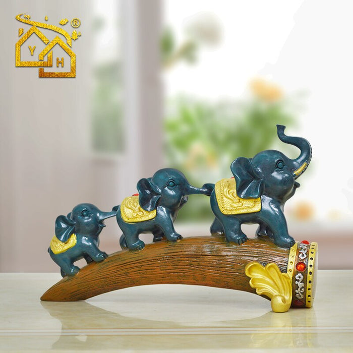 Home Decoration Accessories for Living Room Elephants Family on the Trunck Figurines