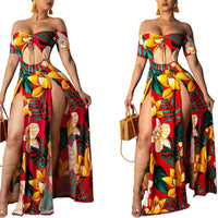 Women Boho Floral Print off Shoulder Short Sleeve front Hollow Split Long Maxi Dress Evening Party Beach Dresses Summer Sundress