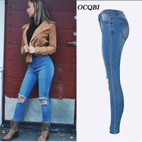 Plus Size Distressed Streetwear Jeans for Women Spring Skinny Boyfriend High Waist Jeans