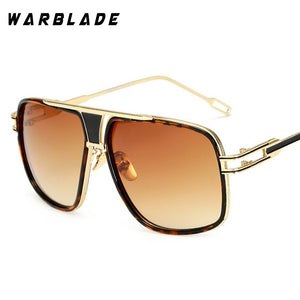 18K Gold Plated Square Men Sunglasses Women Couple Flat Top Luxury Brand Design Ladies Sunglasses Shades Brad Sun Glasses