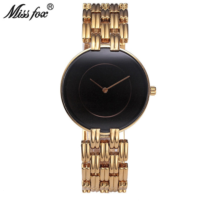 MISSFOX Black Simple Watch Women Fashion Casual Minimalist Watch D.W Brand Style Uhr Ladies Gold Wrist Watches For Female Clock