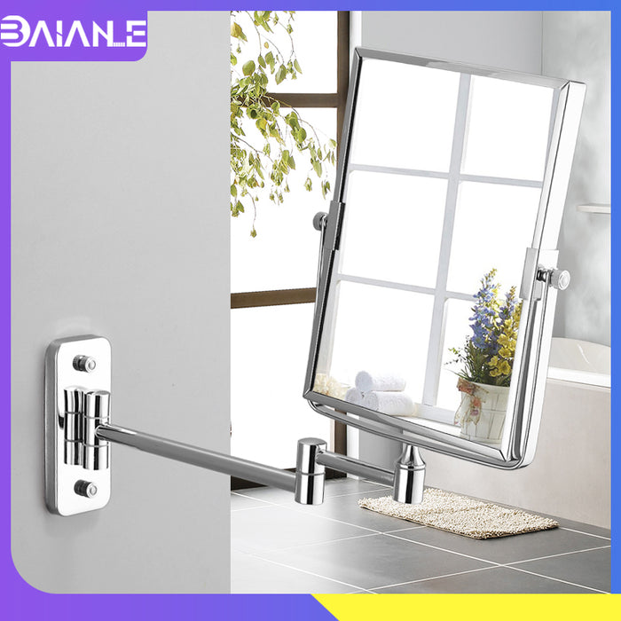 Square Floding Make Up Mirrors 3x Magnifying Dual Arm Extend 2-Face Cosmetic Mirror Wall Mounted