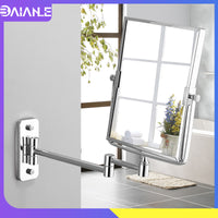 Bathroom Mirror Stainless Steel Square Floding Make Up Mirrors 3x Magnifying Dual Arm Extend 2-Face Cosmetic Mirror Wall Mounted