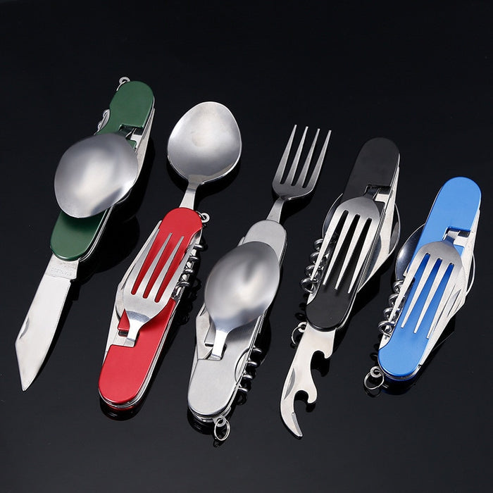 Multitool Outdoor Camping Sport Travel Tableware Folding Pocket Kits Stainless Steel Spoon