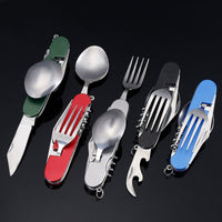 Multitool Outdoor Camping Sport Travel Tableware Folding Pocket Kits Stainless Steel Spoon Fork Knife For Picnic Survival Hiking