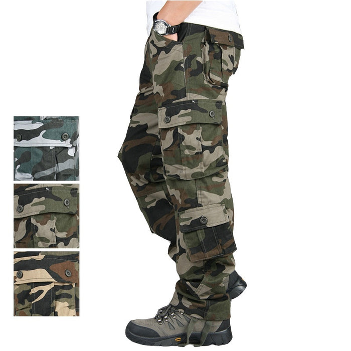 Autumn Winter Military Camo Pants Men Loose Cotton Army Trousers Casual Hip Hop Cargo