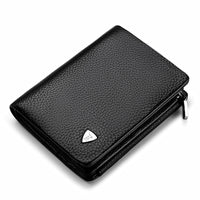 WILLIAMPOLO Men's Trifold Wallet Genuine Leather Zipper Coin Pocket Purse