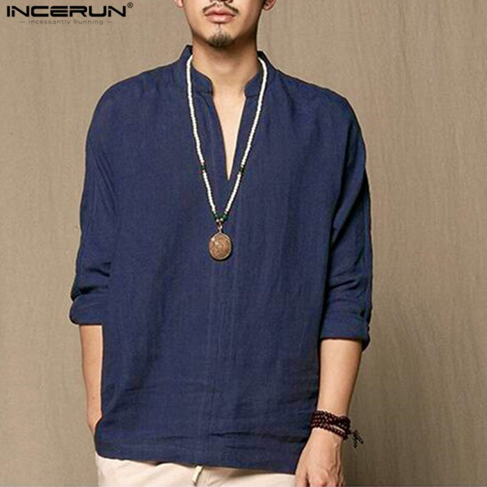 Chinese Retro Style Cotton Linen Clothing Men Casual Thin Breathable Long Sleeve Shirts Camisa