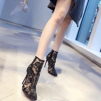 QWEDF Sexy mesh women's shoes  boots spring and autumn 2019 new transparent ankle boots black pointed stilettos G3-87