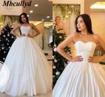 Mbcullyd Vestido De Novia 2019 Ball Gown Wedding Dresses Sexy Sweetheart Backless Luxury Satin Wedding Gowns Cheap Free Shipping