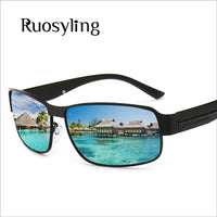 Ruosyling UV 400 Polarized Sunglasses Men 2019 Vintage Driving Steam Punk Italy Sunglasses Retro Rectangle Beach Sunglasses Men