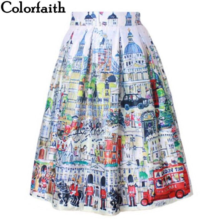 2020 Retro Vintage Ladies Fashion Village Scenery Print High Waist Flared Pleated Midi Skirt