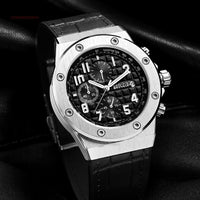 BAOGELA Men's Chronograph Quartz Watches Leather Strap Army Sports Luminous Wristwatch for Man 3Bar Waterproof 1805 Silver black