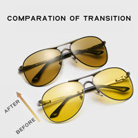 CAPONI Pilot Men's Sun Glasses Polarized Day And Night Driving Photochromic Sunglasses Male UV400 Vintage Alloy Eyewear BSYS8722