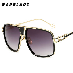 18K Gold Plated Square Men Sunglasses Women Couple Flat Top Luxury Brand Design L